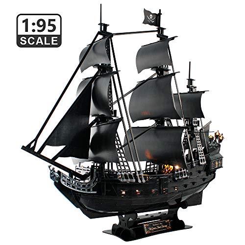 CubicFun Puzzle 3D Queen Anne's Revenge Grande Modello di Nave Pirata con LED, 340 Pezzi