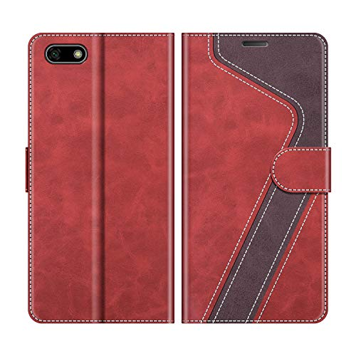 MOBESV Custodia Huawei Y5 2018, Cover a Libro Honor 7S, Custodia in Pelle Huawei Y5 2018 Magnetica Cover per Huawei Y5 2018 / Honor 7S, Elegante Rosso