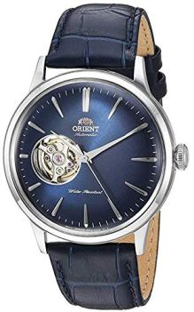 Orient Men's 'Bambino Open Heart' Japanese Automatic Stainless Steel and Leather Dress Watch, Color:Blue (Model: RA-AG0005L10A)