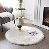 Ultra Soft Round Faux Sheepskin Fur Area Rug White Circular Shaggy Rug Round Fluffy Area Rugs Plush Circle Floor Carpet Mat for Bedroom Living Room Floor Decor, 3ft Diameter SERISSA (White)