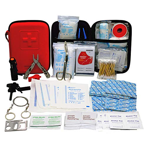 First Aid Kit with 2 pcs Face Mask Earthquake Survival Kit for Emergencies at Home Car Camping Traveling Boat Business, First Aid Kit That is Great for School, Office, Vehicle, Camping and Sports