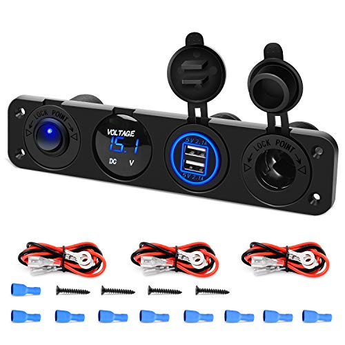 Nilight 4 in 1 ON/OFF Charger Socket Panel Dual USB Socket Power Outlet & LED Voltmeter &Cigarette Lighter Socket& LED Lighted ON Off Rocker Toggle Switch for Truck Car Marine Boats RV,2 Yeas Warranty