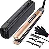 Professional Hair Straightener & Curler, Mixcolor Ceramic Tourmaline Water & Dust Proof Plate 2 in 1 Flat Iron, 15s Fast Heating-up with Rotating Adjustable Temperature 265 to 450℉. Dual Voltage.