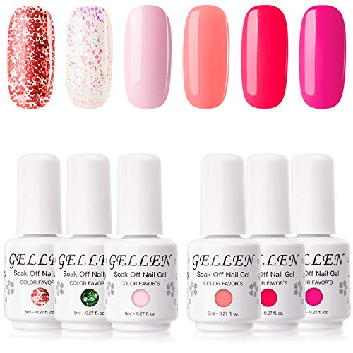 Gellen Gel Nail Polish Kit- Sweet Roses Tone Vibrant Magenta Hot Pinks 6 Colors, Trendy Rose Glitters Nail Art DIY Home Gel Manicure Set