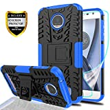 YmhxcY Moto Z Play Droid Phone Case with HD Screen Protector,Military Armor Drop Tested [Heavy Duty] Hybrid Case with Kickstand for Motorola Moto Z Play 2016-LT Blue