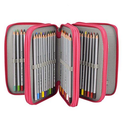 Newcomdigi - Astuccio portamatite a 4 piani, per 72matite colorate, matite non incluse, rosa Rosa
