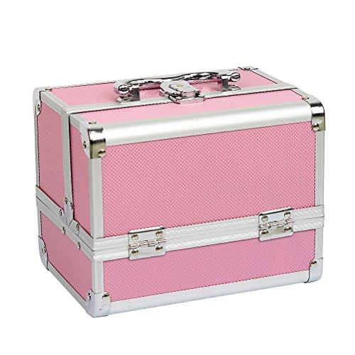 HBF Schminkkoffer und Trolley Kosmetikkoffer für Damen Auswahlen Farben, Größe und Design aus Aluminium Beauty Case Rollkoffer für Make-up Liebhaber zu Reisen (3.Pink, Mit Spiegel)