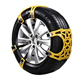 Car Snow Chains, 6PCS Universal Upgraded TPU Snow Chain,Emergency Anti Slip Tire Traction Chains for Rim Width 165 to 265 mm, for Automobile, SUV, Truck (Yellow A)