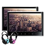 XTRONS Dual Car DVD Players 11.6 Inch IPS Screen Portable Car Headrest CD Player with 2 Children Wireless Headphones Support 1080P Video, HDMI, USB/SD, AV in/Out, Region Free, IR/FM, 32 Bits Game