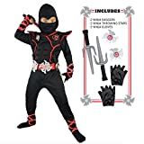 Spooktacular Creations Boys Ninja Deluxe Costume for Kids with Ninja Daggers and Throwing Stars (XL 12-13)