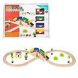 WOOMAX-Tren de madera y vías 30 piezas, (Colorbaby 43629)