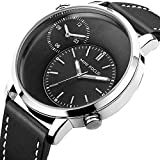 [ Design ] Simple big dial with dual time-zones,classic and luxury,good choice for business and casual use. [ Features ] Luminous pointer,easy to grasp the time in the dark and at night. Imported movement,long working time. [ Band ] High quality leat...