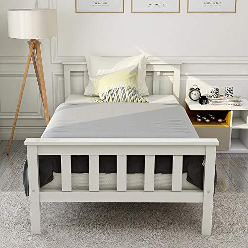 Joycelzen Letto singolo in legno bianco con testiera in legno di pino massiccio, per bambini, ragazzi, adulti, 90 x 190 cm