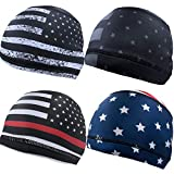 Geyoga 4 Pieces Cooling Skull Cap Sweat Wicking Helmet Liner Running Beanie Cycling Cap Liner for Men Women (Classic Style)