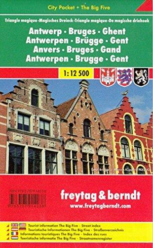 Amberes, Brujas y Gante. Escala 1:12.500. Plano callejero plastificado. Freytag & Berndt.: Stadskaar