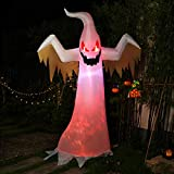 VIVOHOME 8ft Height Halloween Inflatable White Ghost with Red Rotating Led Lights Blow up Outdoor Lawn Yard Decoration