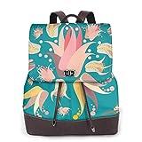 Yuanmeiju Womens Backpack Purse Lily Floral Flowers Turquoise Shoulder Schoolbag Leather Laptop Bag Ladies