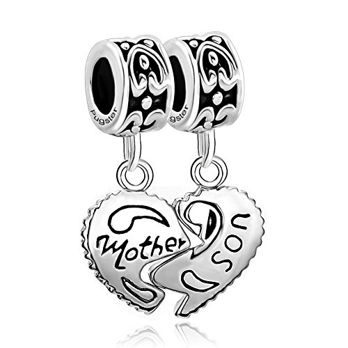 ReisJewelry Mother Daughter Son Wife Husband Friend Sister Matching Heart Love Charms Bead For Bracelets (Mother Son)
