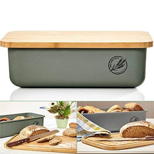 bambuswald© ökologischer Brotkasten mit Brot-Schneidebrett aus 100{c4630fc454882945c8a1e432f07d5176f4366302e108425e878db5dcc8e0b3aa} Bambus | Brotbox für langanhaltende Frische z.B. Brotlaib Croissaints Bröttchen - Brotdose Brotbehälter Brotaufbewahrungsbehälters