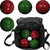 Hey! Play! Bocce Ball Set- Regulation Outdoor Family Bocce Game for Backyard, Lawn, Beach and More- Red and Green Balls, Pallino, and Carrying Case