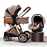 JIAX Lightweight Stroller Infant Prams 3 in 1 Baby Trolley Travel System with Car Seat Easy Fold Stroller Footmuff Blanket Cooling Pad Rain Cover Backpack Mosquito Net (Color : Brown)