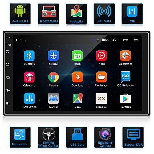 ANKEWAY 2020 Nuovo Android 9.1 DSP/RDS/FM/AM Autoradio 2 DIN Navigazione GPS 7 Pollici 1080P HD Touch Screen Bluetooth/WiFi Internet Multimedia Autoradio(1G/16G)+Microfono+Telecamera di Retromarcia