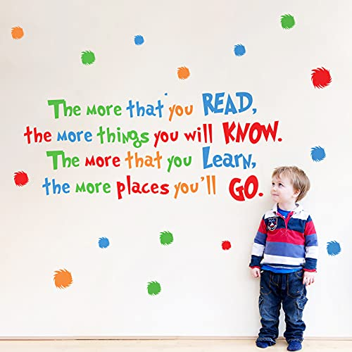 decalmile Reading Wall Decals Inspirational Quotes and Sayings Children Wall Stickers Kids Bedroom Classroom Wall Decor