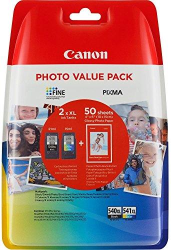 Canon PG-540XL/CL-541XL Cartuccia Originale Getto d'Inchiostro ad Alta Resa, 2 Pezzi, Nero + Colore