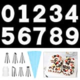 SelfTek 0-9 14 Inch Number Cake Molds DIY Baking Cake Stencils Templates with 6 Icing Tips Icing Smoother and Pastry Bags for Wedding Birthday Anniversary