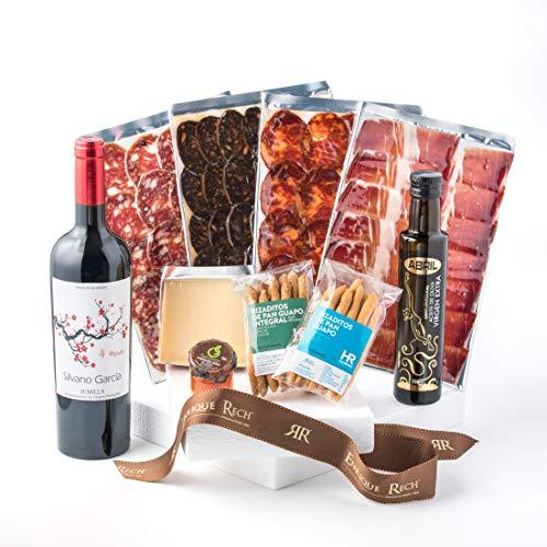 Cesta Gourmet Regalo - Lote Embutidos Gourmet - Embutidos Ibericos, Queso, Rizaditos de...