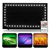 TV LED Backlight USB LED Strip Lights for 50-55 inch TV Bias Lighting - 11.5ft RGBW 6500K Pure Daylight White TV Light Strip with RF Remote Control, 18 Colors 10 Scenes Modes, Dimmable