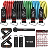 WALITO Resistance Bands Set - 150LBS Exercise Resistance Bands with Handles, 5 Tube Fitness Bands with Door Anchor, Elastic Bands for Exercise, Physical Therapy, Home Workouts