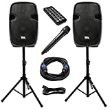 Seismic Audio - PAIO15 - Active 15 Inch PA Speaker System - Bluetooth, Wireless Mic, Speaker Stands and Cables - Tailgate Karaoke Speaker