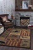Homespun Cabin Novelty Lodge Pattern Multi-Color Rectangle Area Rug, 8' x 10'