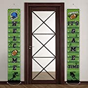 """Packing includes: 2 football welcome banners, one is printed with the words of """"welcome"""", another is """"it's game time"""", very vibrant and funny Football element: with football, sporter, football helmet and other football elements to decorate the party,..."""