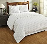Better Trends Athenia Comforter Collection 100% Cotton Tufted Unique Luxurious Soft Plush Chenille Machine Washable Tumble Dry, King, Ivory,QUATKIIV,3