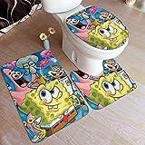 Bathroom Rug Set 3 Piece, Stylish Spongebob Print Non Slip Bath Mat + U-Shaped Contour Rug + Toilet Lid Cover