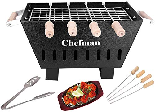 Chefman Small Charcoal Grill Barbeque with 4 Skewers, 1 Grill 1 Tong cooking/ outdoor parties/...
