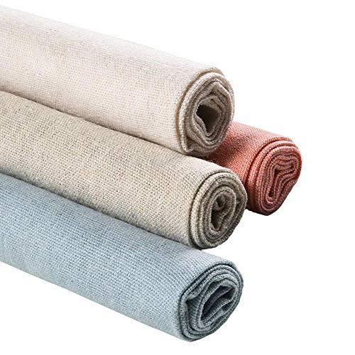 Tela de lino natural, 4 piezas, 20 pulgadas, tela de costura