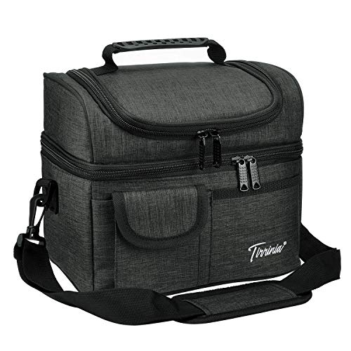 """Tirrinia Insulated Lunch Bag, Leakproof Thermal Bento Cooler Tote for Women and Men, Dual Compartment with Shoulder Strap, 10.3"""" x 7.5"""" x 8.6"""", Charcoal"""