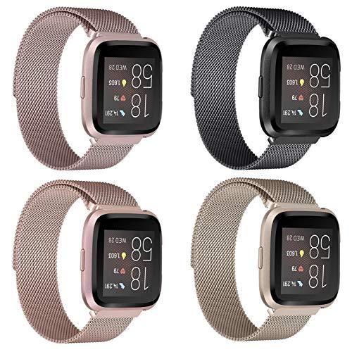 4 Stück Metall Armband Kompatibel für Fitbit Versa/Fitbit Versa 2/Fitbit Versa Lite Ersatzarmbänd,Edelstahl Smart Uhrenarmbänder Zubehör | Groß:6,9\'\'-10,0\'\',Schwarz/Pink/Champagner/Roségold
