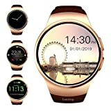 Yaluo Smart Watch with SIM Card Slot and TF Card Slot-Evershop 1.5 inch IPS Round Touch Screen Smartphone with Sleep Monitor, Pedometer for iOS and Android Devices (Color : Gold)