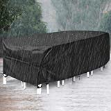 king do way Outdoor Patio Furniture Covers, 315x180x74cm Waterproof, Windproof, Tear-Resistant, UV, Thicken 600D Extra Large Patio Furniture Covers, Fits 12-14Seat (Upgraded Version)