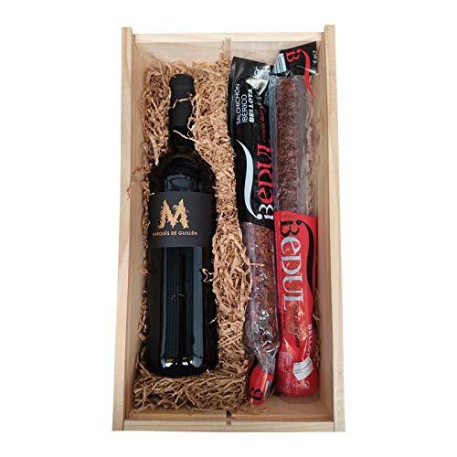 Económico lote de Navidad , una preciosa caja de madera con vino y embutidos, el regalo ideal para cualquier ocasión.