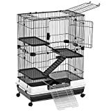 SONGMICS 4-Level Small Animal Pet Cage, Ferret Chinchilla Playpen Hutch with 3 Platforms, 3 Ramps, Leakproof Litter Tray, 3 Doors, and Lockable Wheels, Black UPSC02BK