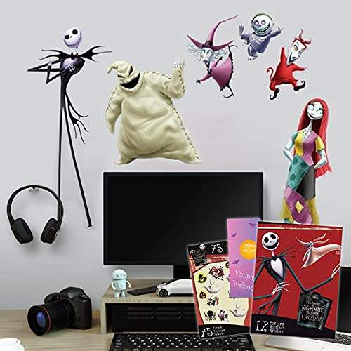 RoomMates Nightmare Before Christmas Decal Set - 21 Pc Nightmare Before Christmas Room Decor Bundle with Poster Book and Tattoos (RoomMates Nightmare Before Christmas)