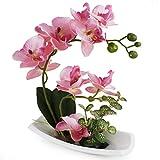 Orchidée Artificielle avec Vase en Porcelaine Blanche, Fleurs artificielles et...