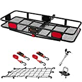 KING BIRD Upgraded 60' x 24' x 6' Hitch Mount Folding Cargo Carrier Fits to 2'' Receiver,550LBS Capacity Cargo Basket with Trailer Hitch Lock,Hitch Stabilizer,Net and Straps