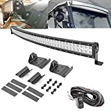 50'' 288W LED Curved Light Bar Spot/Flood Combo Beam w/Wiring Kit & Upper Roof Windshield...