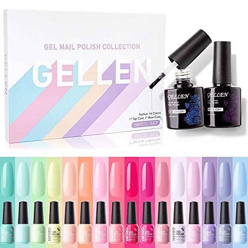 Gellen 16 Colors Gel Nail Polish Kit, With Top&Base Coats Happy Rainbow Collection Vibrant Bright Neon Tones- Trendy Spring Summer Nail Art Design Gel Polish Colors Home/Salon Manicure Set